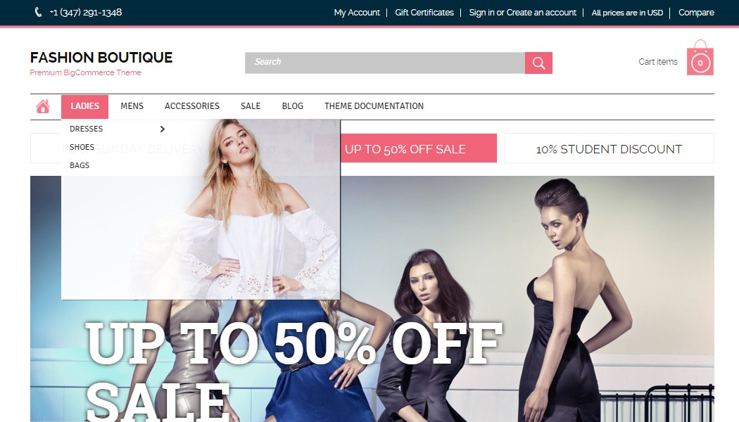 Home page, BigCommerce templates